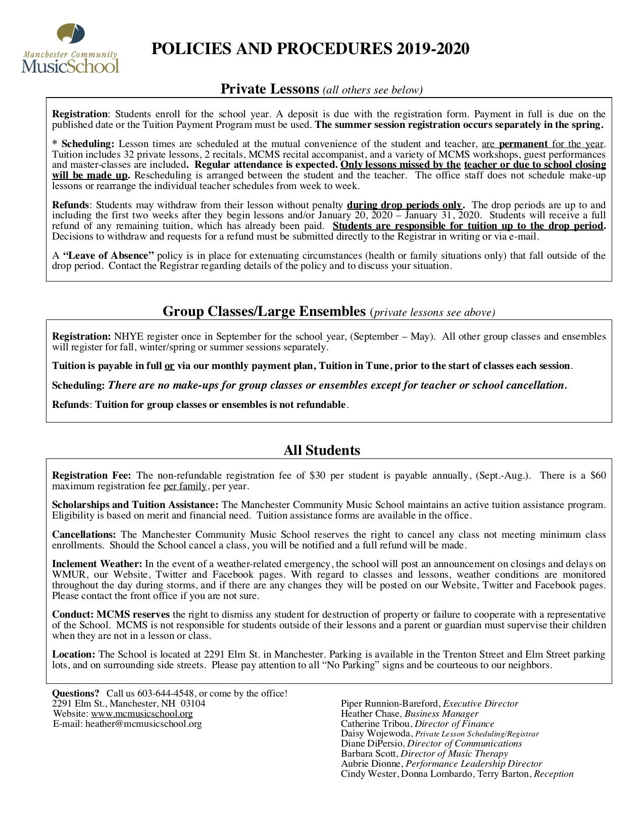 Manchester Community Music School | Policies & Procedures